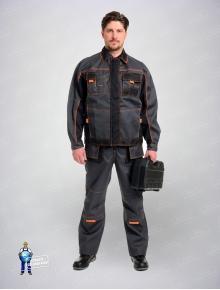 Костюм Бренд (куртка+полукомбинезон)темно-серый/черный