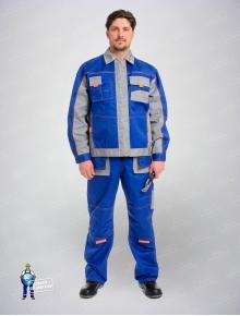 Костюм Бренд(куртка+полукомбинезон)василек/серый