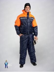 Костюм утепленный Стим тмно-синий+оранж