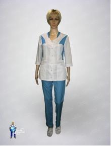 Костюм медицинский 120 белый с голубым