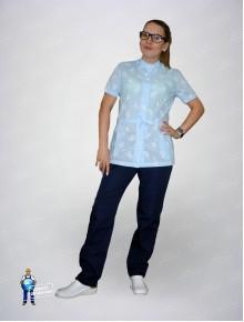 Блуза 325/1 гоубые огурцы