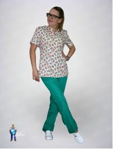 Блуза 331/1 коричневые огурцы